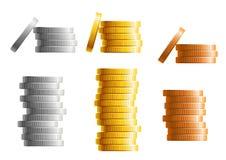 Σωροί των νομισμάτων χρυσού, ασημιών και χαλκού διανυσματική απεικόνιση