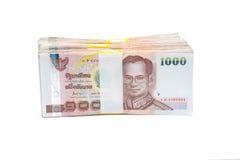Σωροί των λογαριασμών 1000 μπατ Στοκ Φωτογραφία