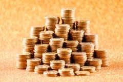 Σωροί των παλαιών χρυσών νομισμάτων Στοκ Εικόνες