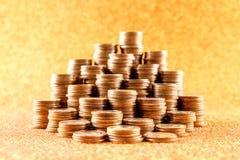 Σωροί των παλαιών χρυσών νομισμάτων Στοκ Φωτογραφίες