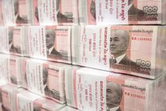 Σωροί των τραπεζογραμματίων 100 RIEL από την Καμπότζη Στοκ Εικόνες
