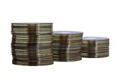 Σωροί Decending των παλαιών βρώμικων Compact-$l*Disk στοκ εικόνες