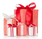 Σωρός από τα κόκκινα κιβώτια δώρων Στοκ Εικόνες
