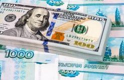 Σωρός εκατό αμερικανικών τραπεζογραμματίων δολαρίων Στοκ Εικόνες