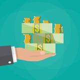 Σωρός εκμετάλλευσης χεριών των μετρητών και των νομισμάτων ελεύθερη απεικόνιση δικαιώματος