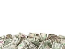 Σωρός 1.5 και 100 του δολαρίου Bill στο άσπρο υπόβαθρο Στοκ Εικόνες