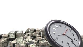 Σωρός και χρόνος χρημάτων που απομονώνονται στο άσπρο υπόβαθρο απεικόνιση αποθεμάτων