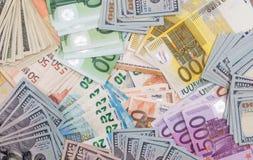 σωρός με το δολάριο και το ευρώ Στοκ Φωτογραφίες