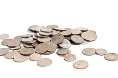 Σωρός νομισμάτων στο λευκό Στοκ εικόνα με δικαίωμα ελεύθερης χρήσης