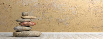 Σωρός πετρών της Zen σε ένα δωμάτιο τρισδιάστατη απεικόνιση ελεύθερη απεικόνιση δικαιώματος