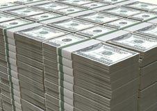 Σωρός σημειώσεων αμερικανικών δολαρίων Στοκ Εικόνες