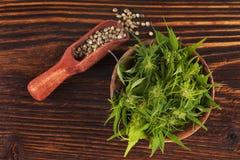 Σωρός της ιατρικής μαριχουάνα στο ξύλινο κύπελλο με τους σπόρους μαριχουάνα Στοκ Εικόνες
