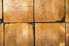 Σωρός της ξυλείας στην αποθήκευση κούτσουρων ξυλείας για την κατασκευή ή το indus Στοκ Εικόνα