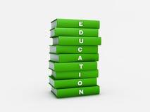 Σωρός της πράσινης βίβλου εκπαίδευσης που απομονώνεται στο λευκό με το ψαλίδισμα PA απεικόνιση αποθεμάτων