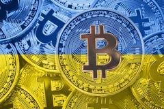Σωρός της σημαίας Bitcoin Ουκρανία Έννοια cryptocurrencies Bitcoin Στοκ φωτογραφίες με δικαίωμα ελεύθερης χρήσης