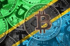 Σωρός της σημαίας Bitcoin Τανζανία Έννοια cryptocurrencies Bitcoin Στοκ εικόνα με δικαίωμα ελεύθερης χρήσης