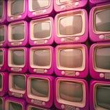 Σωρός του έγχρωμου αναδρομικού τηλεοπτικού δέκτη Παλαιό υπόβαθρο τηλεοράσεων τρισδιάστατη απεικόνιση Στοκ Φωτογραφία