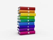 Σωρός του βιβλίου εκπαίδευσης ουράνιων τόξων που απομονώνεται στο λευκό με το ψαλίδισμα Στοκ Εικόνες