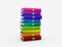 Σωρός του βιβλίου εκπαίδευσης ουράνιων τόξων που απομονώνεται στο λευκό με το ψαλίδισμα διανυσματική απεικόνιση