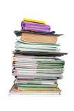 Σωρός του μαθητή βιβλίων και σημειωματάριων Στοκ Εικόνες