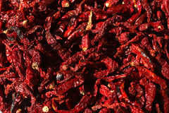 Σωρός του ξηρού κόκκινου υποβάθρου πιπεριών τσίλι, τοπ άποψη Στοκ φωτογραφία με δικαίωμα ελεύθερης χρήσης