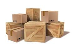 Σωρός του συσσωρευμένου χαρτονιού αγαθών και των ξύλινων κιβωτίων απεικόνιση αποθεμάτων
