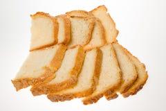 Τεμαχισμένο ψωμί στο άσπρο υπόβαθρο Στοκ Εικόνα