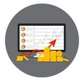 Σωρός του χρυσού νομίσματος όπως την εισοδηματική γραφική παράσταση απεικόνιση αποθεμάτων