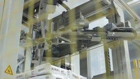 Σωρός τσαντών γύψου στη σύγχρονη ισχυρή αυτόματη μηχανή μετάλλων απόθεμα βίντεο