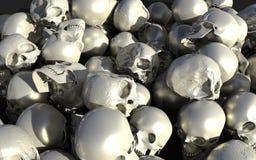 Σωρός των άσπρων και ασημένιων στιλπνών κρανίων Στοκ Εικόνες