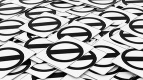 Σωρός των αρνητικών σημαδιών οδών διανυσματική απεικόνιση