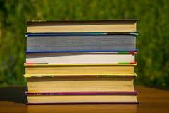 Σωρός των βιβλίων στον ξύλινο πίνακα υπαίθριο Στοκ Εικόνες