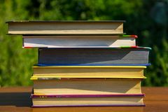 Σωρός των βιβλίων στον ξύλινο πίνακα υπαίθριο Στοκ Φωτογραφίες