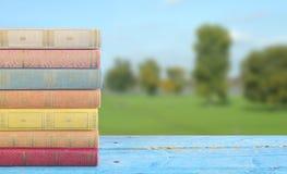Σωρός των βιβλίων στο θολωμένο υπόβαθρο τοπίων Στοκ Εικόνες