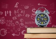 Σωρός των βιβλίων με το ρολόι και την άσπρη επιχείρηση doodles στο καφέ κλίμα Στοκ φωτογραφία με δικαίωμα ελεύθερης χρήσης