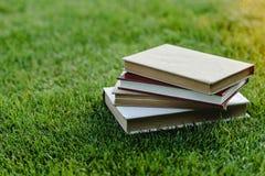 Σωρός των βιβλίων στην πράσινη χλόη στο ηλιοβασίλεμα στοκ εικόνα