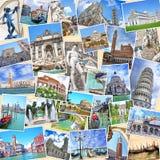 Σωρός των εικόνων ταξιδιού από την Ιταλία Διάσημα ορόσημα Στοκ Εικόνες