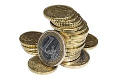 Σωρός των ευρο- νομισμάτων σεντ στο άσπρο υπόβαθρο Στοκ Φωτογραφία