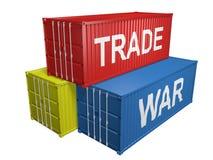 Σωρός των μεταφορικών κιβωτίων για τις εισαγωγές και τις εξαγωγές με το εμπορικό πόλεμο λέξεων στοκ φωτογραφία με δικαίωμα ελεύθερης χρήσης