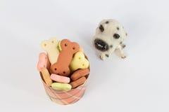 Σωρός των μπισκότων σκυλιών με μορφή ενός κόκκαλου για το σκυλί Στοκ φωτογραφία με δικαίωμα ελεύθερης χρήσης
