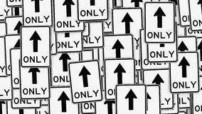 Σωρός των μπροστινών μόνο σημαδιών κυκλοφορίας Στοκ φωτογραφία με δικαίωμα ελεύθερης χρήσης