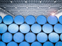 Σωρός των μπλε βαρελιών στοκ εικόνα