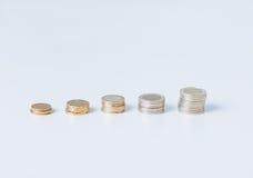 Σωρός των νομισμάτων σε μια σειρά Στοκ εικόνα με δικαίωμα ελεύθερης χρήσης