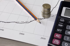 Σωρός των νομισμάτων χρημάτων με το έγγραφο γραφικών παραστάσεων, μολύβι, υπολογιστής Στοκ εικόνες με δικαίωμα ελεύθερης χρήσης