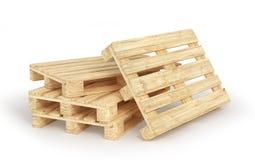 Σωρός των ξύλινων παλετών που απομονώνονται σε ένα λευκό τρισδιάστατος Στοκ Εικόνες
