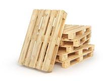 Σωρός των ξύλινων παλετών που απομονώνονται σε ένα λευκό τρισδιάστατος Στοκ Φωτογραφίες