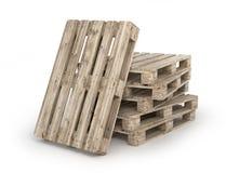Σωρός των ξύλινων παλετών που απομονώνονται σε ένα λευκό τρισδιάστατος Στοκ Φωτογραφία