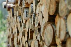 Σωρός των ξύλινων κούτσουρων έτοιμων για το χειμώνα, το καυσόξυλο Στοκ φωτογραφία με δικαίωμα ελεύθερης χρήσης