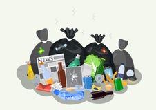 Σωρός των οικιακών απορριμμάτων διανυσματική απεικόνιση