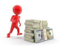 Σωρός των δολαρίων και του ατόμου (πορεία ψαλιδίσματος συμπεριλαμβανόμενη) Στοκ Εικόνα